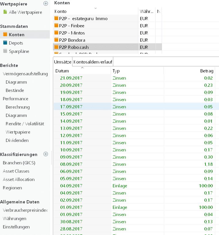 Kontoauszug P2P Portfolio Performance