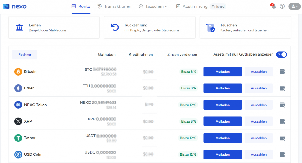 Krypt Lending mit dem Nexo Konto