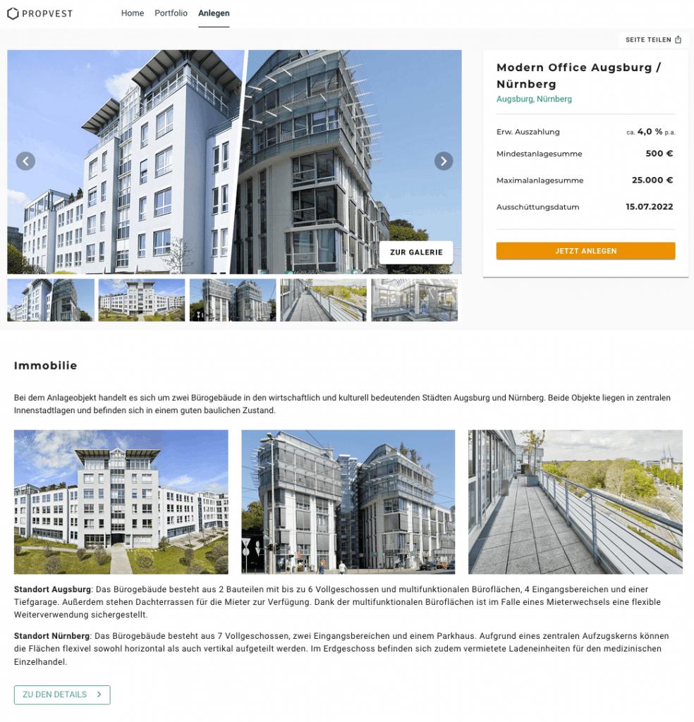 Exporo PROPVEST Bestandsobjekt Mietausschüttung Rendite